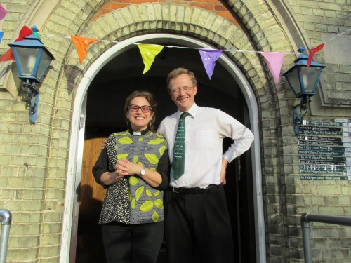 Karin Voth Harman from St Andrew's Church and Nic Boynes from Cherry Hinton Baptist Church getting ready for the Church Service 2016