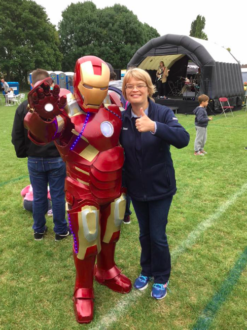 Iron Man with Alison, the Tesco Community Champion