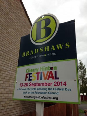Bradshaws boards advertising the Festival