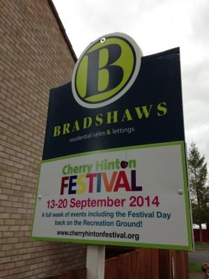 Bradshaws boards advertising the Festival